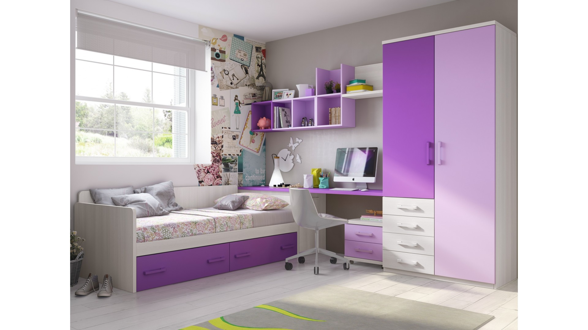 chambre ado fille avec armoire courbe pratique glicerio. Black Bedroom Furniture Sets. Home Design Ideas