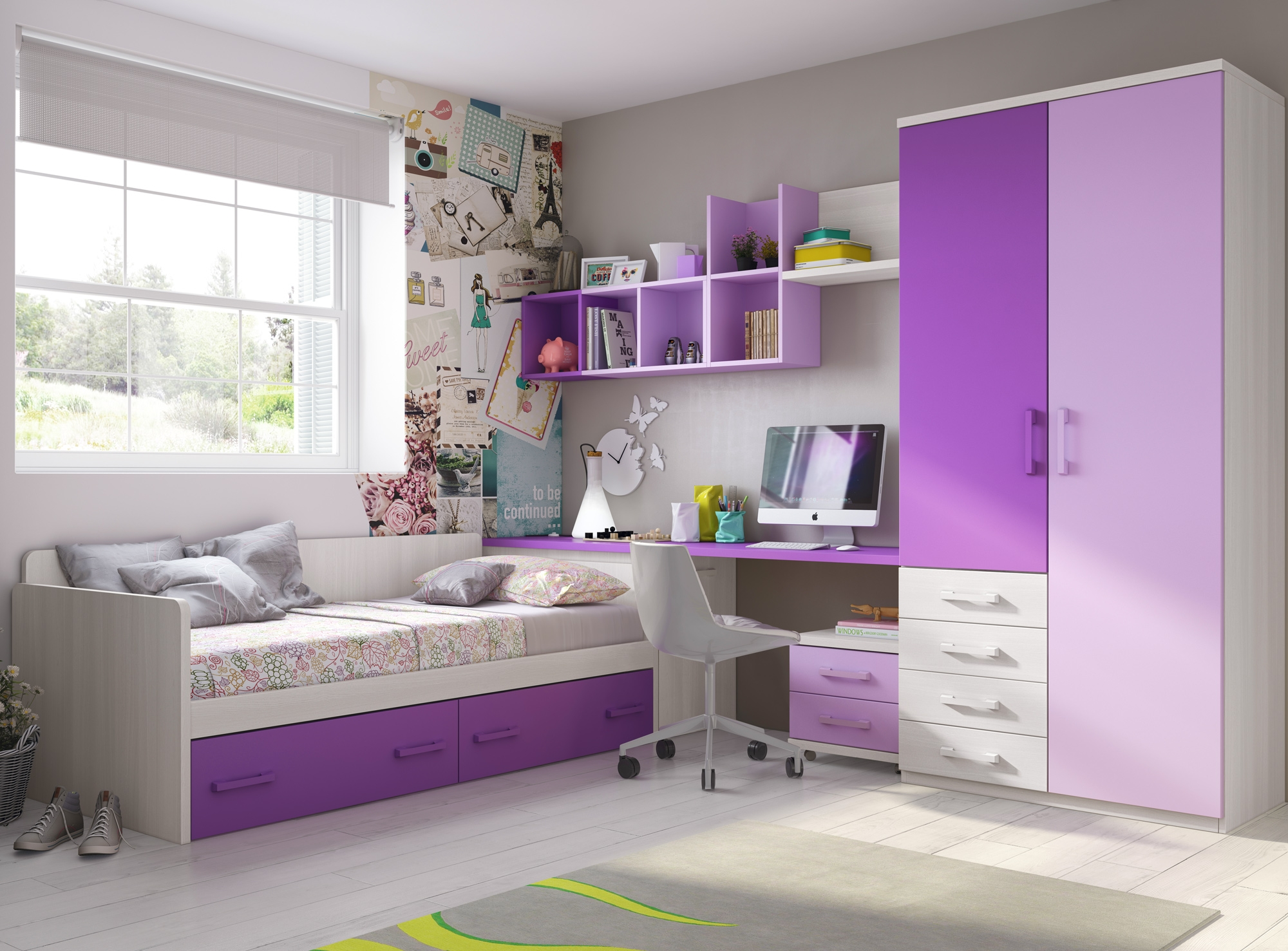 Awesome chambre ado fille moderne violet gallery matkin for Chambre ado fille