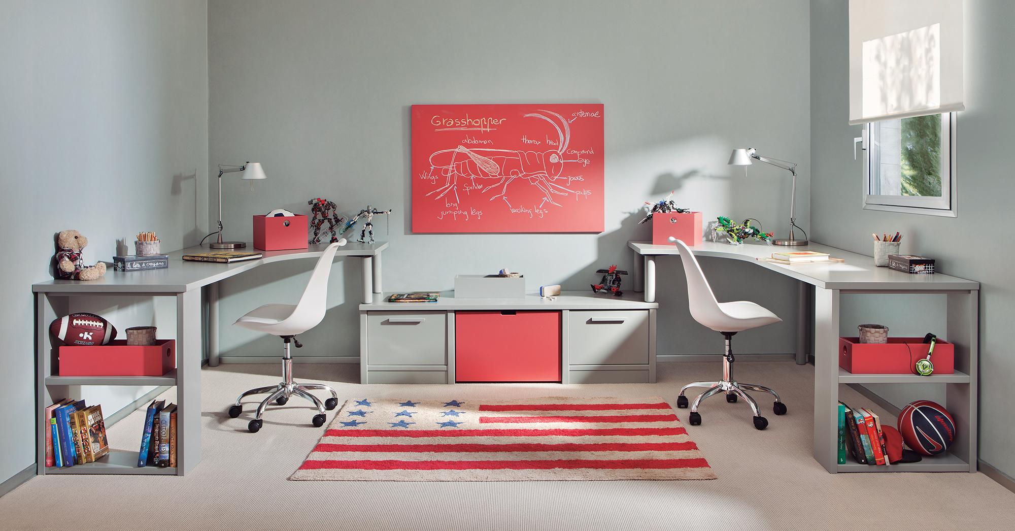comment int grer un bureau double dans la chambre enfant. Black Bedroom Furniture Sets. Home Design Ideas