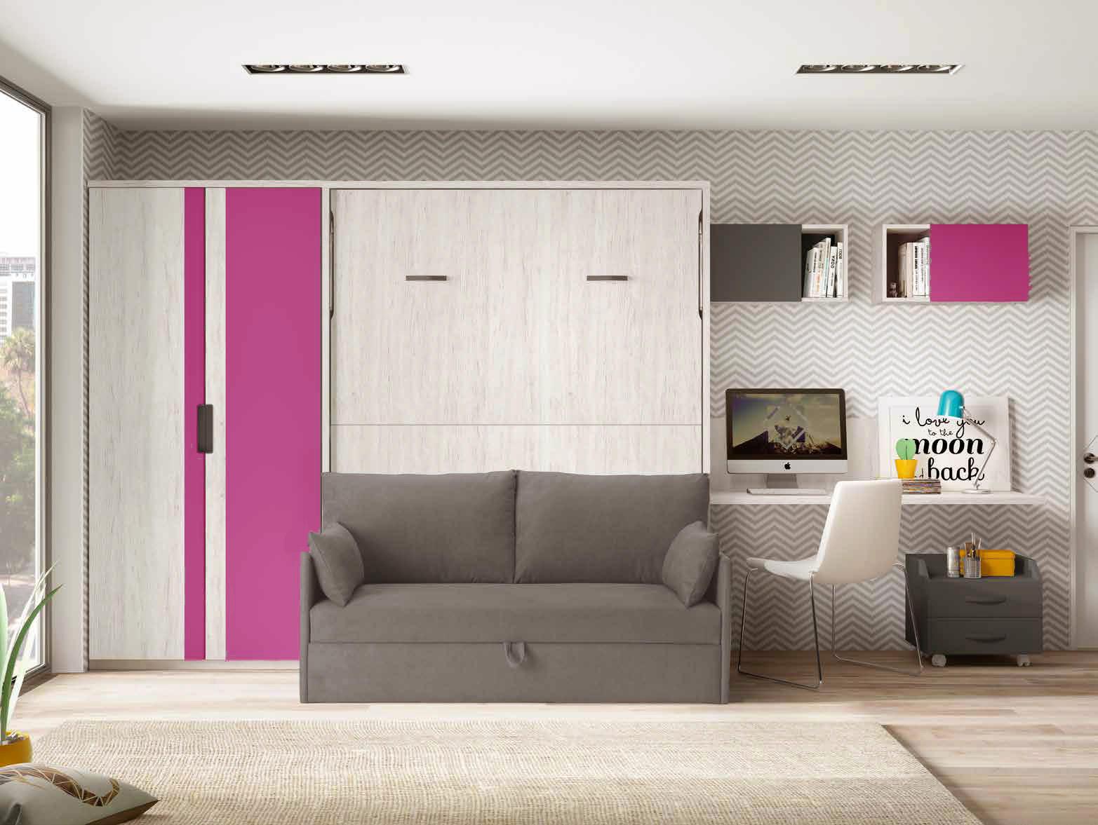 lit escamotable enfant mural encastrable et rabattable avec bureau. Black Bedroom Furniture Sets. Home Design Ideas